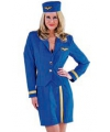Stewardessen kostuum dames blauw