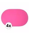 4x effen kleur placemats fuchsia roze