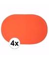 4x effen kleur placemats oranje