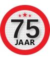 Ronde 75 jaar sticker van 9 cm