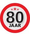 Ronde 80 jaar sticker van 9 cm