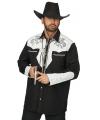 Cowboy blouse voor heren zwart/wit