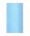 Lichtblauwe tule stof met glitters 15 cm breed