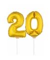 Folie ballonnen cijfer 20 goud 41 cm