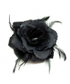 Speld met zwarte roos met veren en glitters