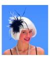Haarkam met veren zwart/wit