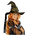 Hoge heksen hoed metallic goud volwassenen