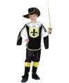 Musketiers outfit kinderen zwart/goud