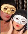Goud- of zilverkleurig oogmasker met glitters