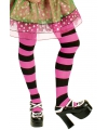 Zwart en roze gestreepte panty
