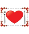 Valentijnsdag placemats van papier 10 stuks
