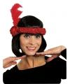 Rode Charleston hoofdband met veer en bloem