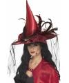 Donkerrode heksen hoed met veren