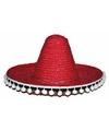 Mexicaanse sombrero rood voor kinderen 25 cm