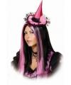 Mini heksenhoedje roze aan haarband