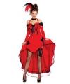 Rode burlesque danseressen jurk