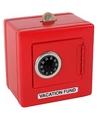 Rode spaarpot kluis 14 x 14 cm