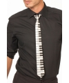 Piano stropdas zwart/wit