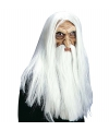 Tovenaar masker met witte pruik, snor en baard