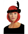 Zwarte Charleston hoofdband met veer en bloem