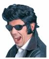Zwarte Elvis pruiken met bakkenbaarden